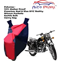 Auto Pearl Water Proof PVC Bike Body Cover with Mirror Pockets, Buckle Belt, Carry Bag for Royal Enfield Bullet (Red Blue)