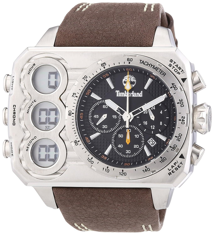 Timberland TBL.13673JS/02 - Reloj analógico - digital de cuarzo para hombre, correa de cuero color marrón: Amazon.es: Relojes