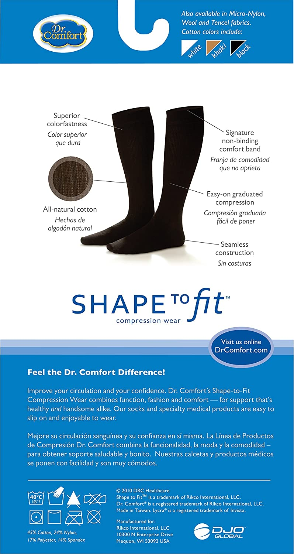 Comfort Mens Cotton Dress Graduated Compression Knee-High Sock Black 15-20 mmHg Dr Medium