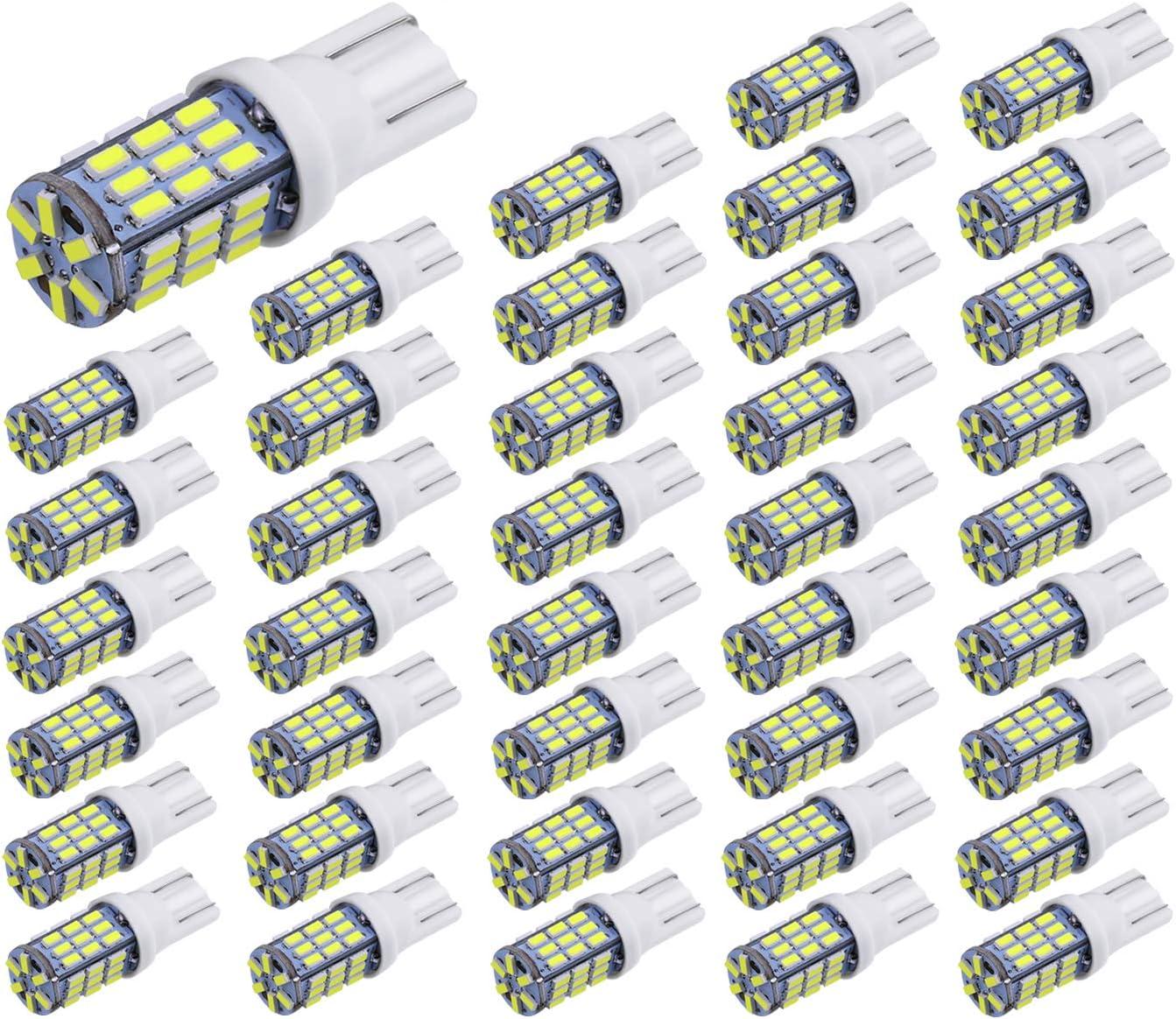Aucan 40pcs Super Bright RV Trailer T10 921 194 42-SMD 12V Car Backup Reverse LED Lights Bulbs Light Width Lamp Xenon White