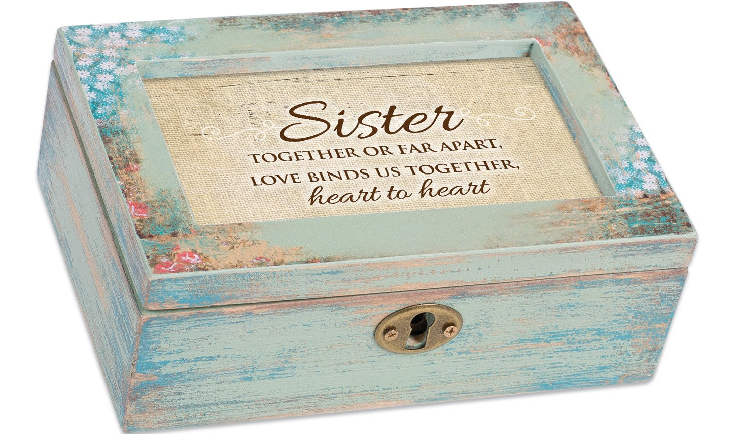 Cottage Garden Sister Together Heart to Heart Distressed Wood Jewelry Music Box Plays Tune Wonderful World