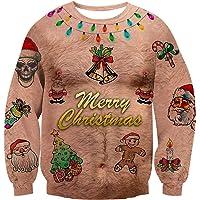 Rave on Friday Unisexo Navidad Sudaderas 3D Impresión Ugly Christmas Sweater Hombre Tops Sweatshirt S-XXL