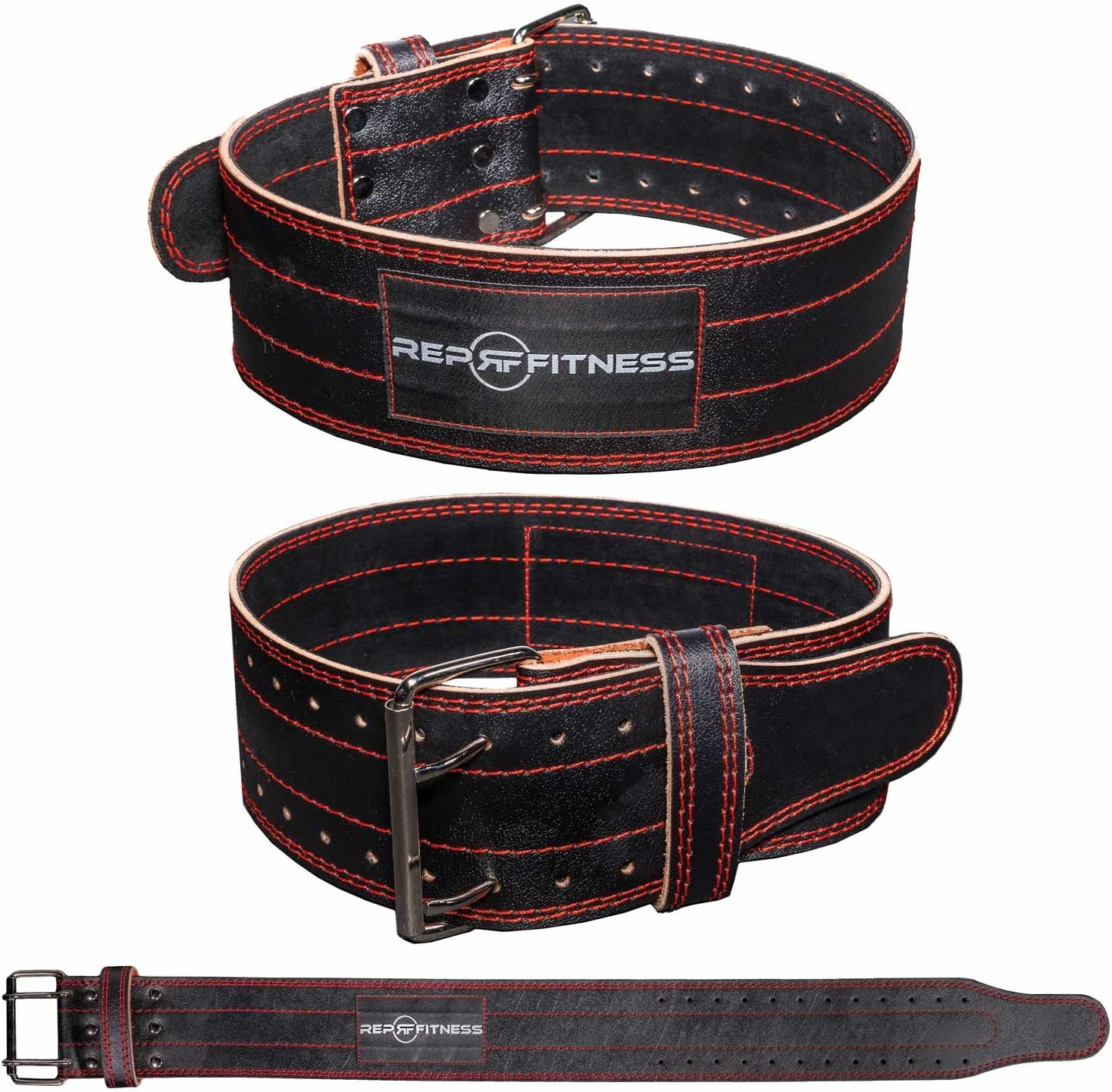 """Lower Back and Abdominal Support for Weightlifting REP FITNESS 4/"""" Black Leather Lifting Belt"""