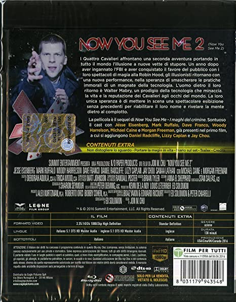 now you see me 2 (blu-ray) BluRay Italian Import: Amazon co