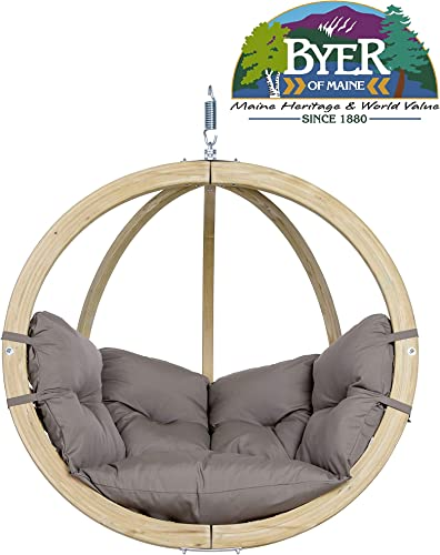 BYER OF MAINE, Globo Chair, Treated Spruce Wood, Weatherproof, Waterproof, Agora Outdoor Fabric Cushion, Indoors or Out, Single Person, 48 L X 30 D X 48 H, Holds Up to 260lbs, Taupe