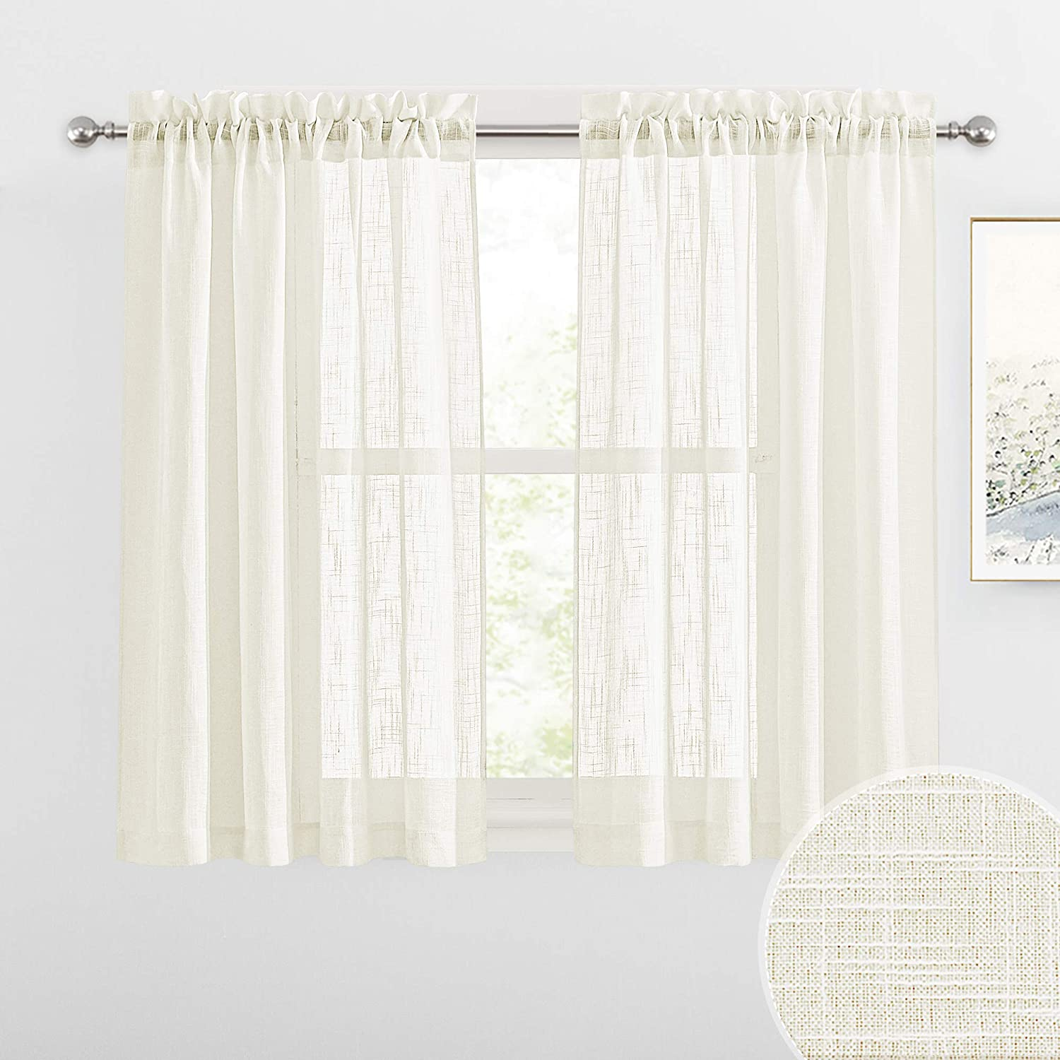 RYB HOME Semi Sheer Curtains - Linen Textured Fabric Privacy Sheer Light Filtering Window Decor for Bedroom Kitchen Bath Kids Nursery, Natural, Wide 52 x Long 45 inch, Set of 2