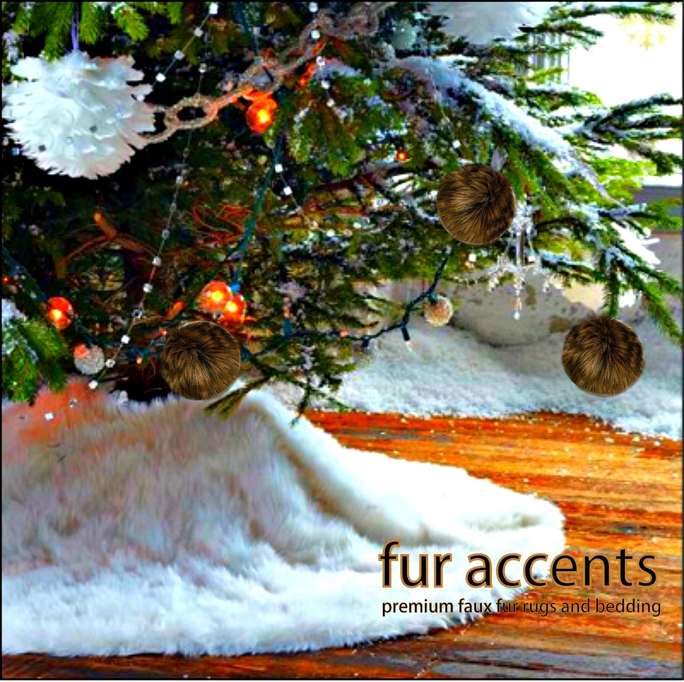 Classic Faux Fur Christmas Tree Skirt - Shaggy Shag Faux Sheepskin Round - White or Off White by Fur Accents - USA (6' Round, White) by Fur Accents (Image #3)