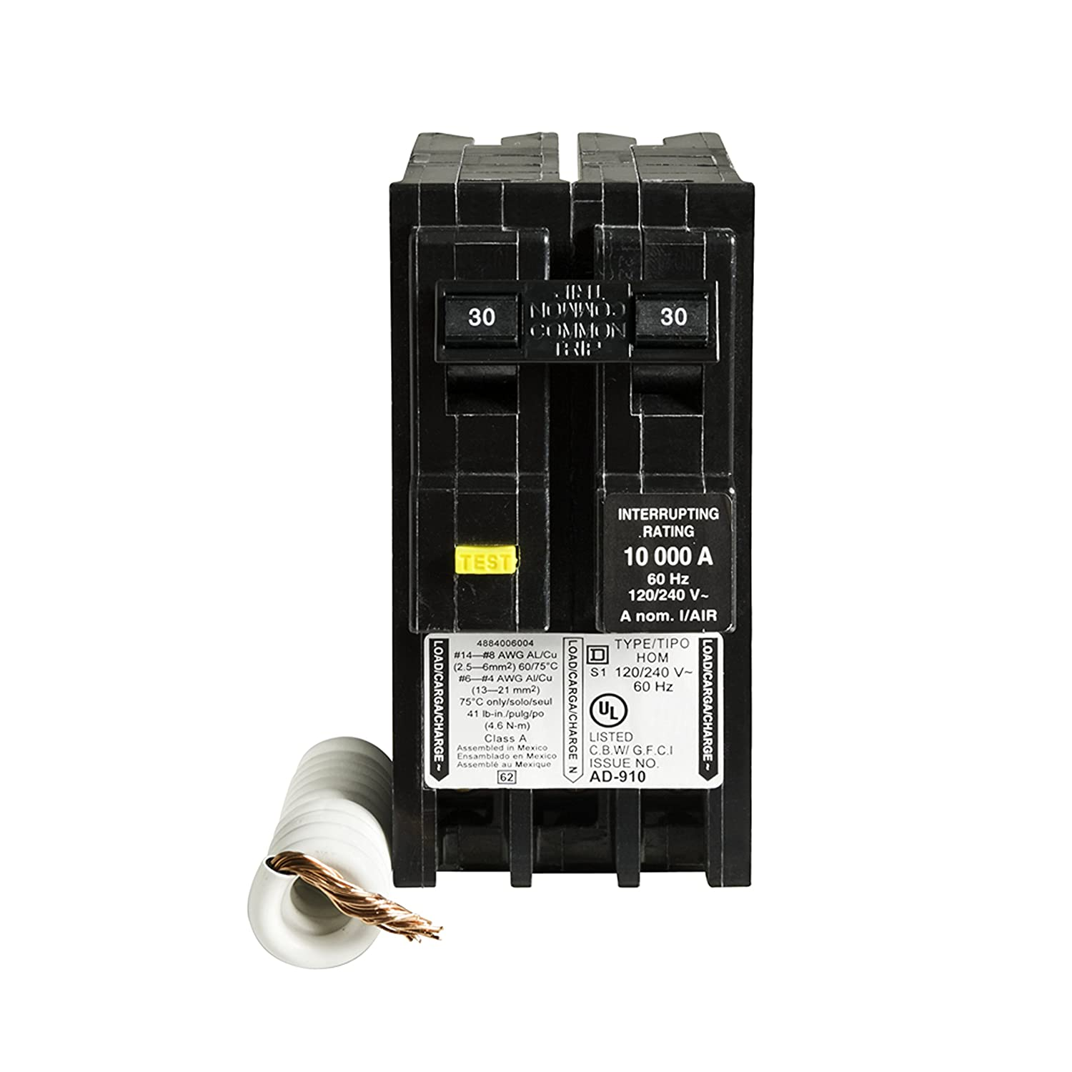 Square D by Schneider Electric HOM230GFIC Homeline 30 Amp Two-Pole GFCI Circuit Breaker,
