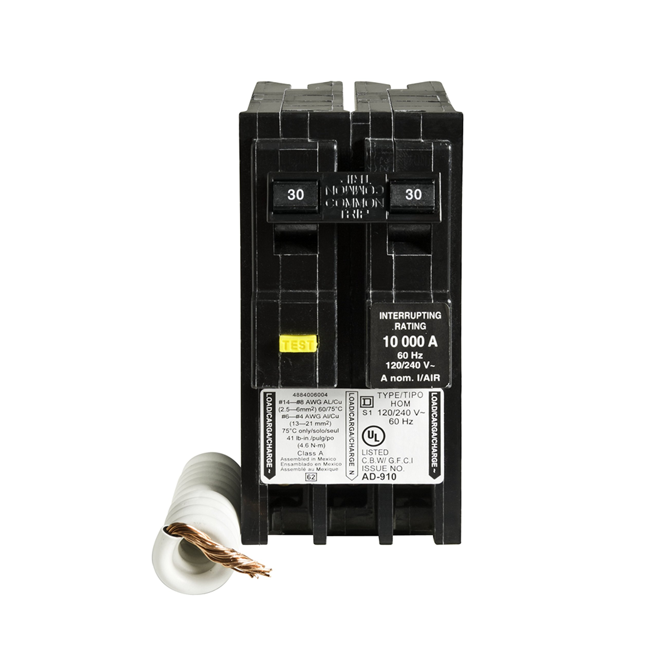Square D by Schneider Electric HOM230GFIC Homeline 30 Amp Two-Pole GFCI Circuit Breaker, ,
