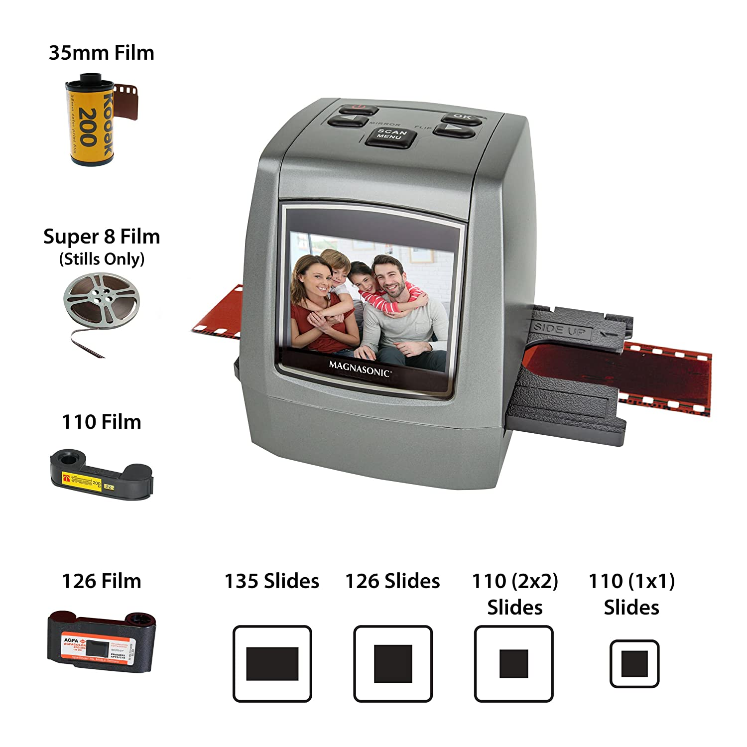 Magnasonic All-In-One High Resolution 22MP Film Scanner, Converts 126KPK/135/110/Super 8 Films, Slides, Negatives into Digital Photos, Vibrant 2.4 LCD Screen, Impressive 128MB Built-In Memory Vibrant 2.4 LCD Screen FS50