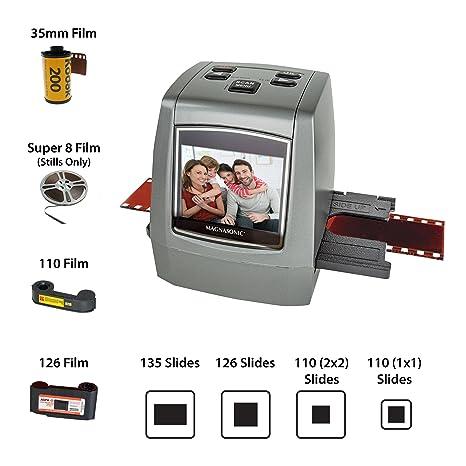 Magnasonic All-in-One High Resolution 22MP Film Scanner, Converts  35mm/126KPK/110/Super 8 Films, Slides, Negatives into Digital Photos,  Vibrant 2 4