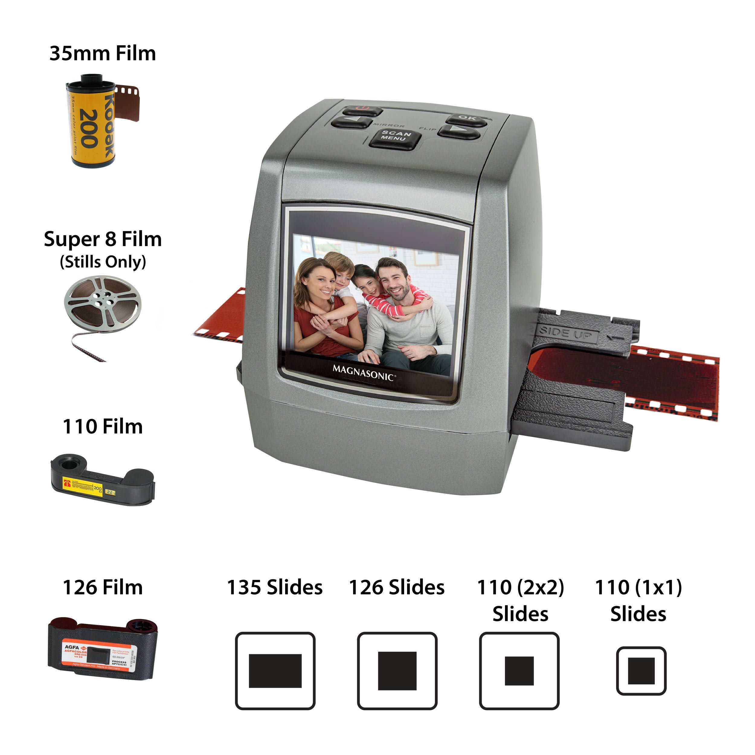 Magnasonic All-in-One High Resolution 22MP Film Scanner, Converts 126KPK/135/110/Super 8 Films, Slides, Negatives into Digital Photos, Vibrant 2.4'' LCD Screen, Impressive 128MB Built-in Memory
