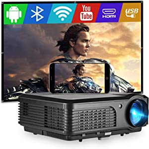 WiFi Bluetooth Projector, 1080P HD Supported 4400 Lumen Wireless Projector, Compatible with HDMI, USB, DVD Player, PS4, Smartphone, TV Stick for Home Theater Outdoor Movies, Built-in Dual Speakers