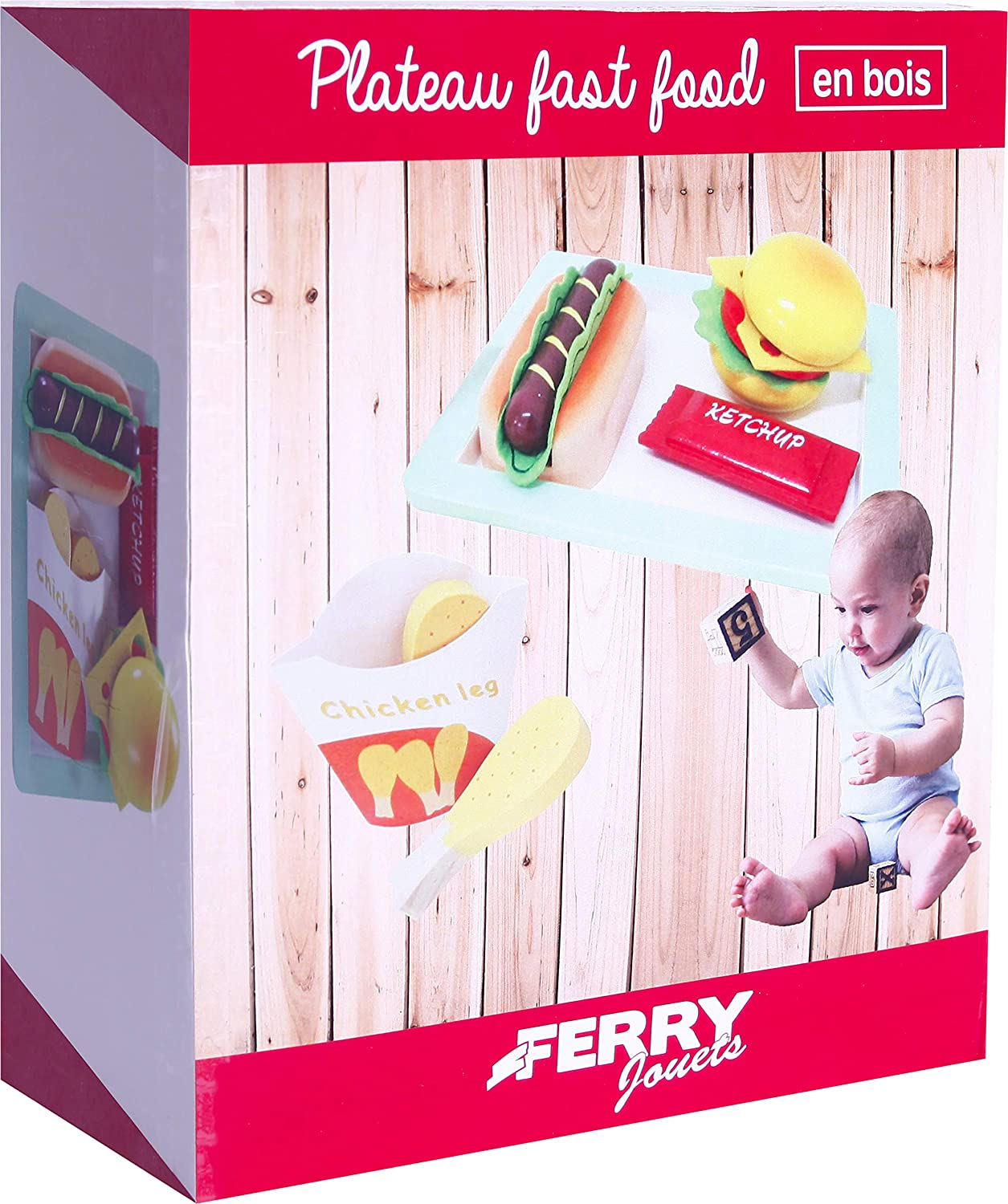 FERRY 320101 Fast Food Wooden Tray Brown