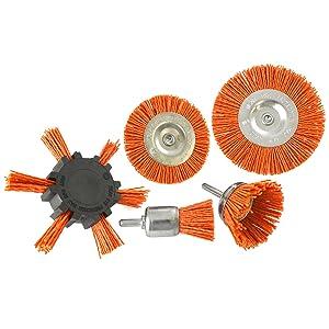 5pc Cepillo de filamentos de nylon abrasivo el husillo de taladrar 6mm el vástago de rebaba Rust TE876