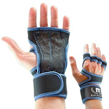 Mava Sports - Guantes de entrenamiento cruzados con soporte de muñeca para fitness, pesas,