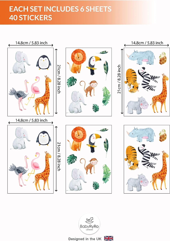 Pegatinas de pared para habitaci/ón de beb/é: Safari elegante pegatinas de pared de la selva guarder/ía de beb/és Animales de la jungla vinilos de pared decorativos infantiles Vinilos Infantiles Pared