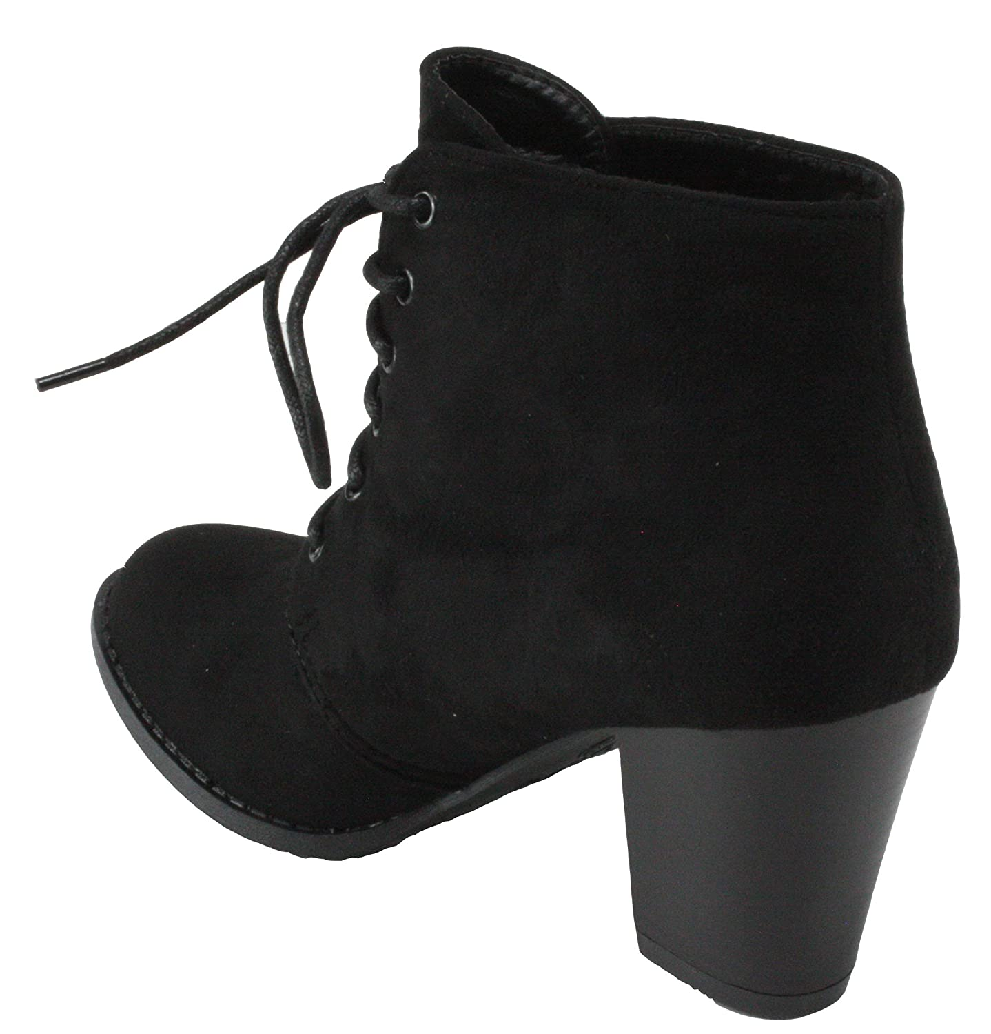 Forever Womens Jilly-3 Faux Suede Round Toe Lace-up Block High Heel Ankle Booties