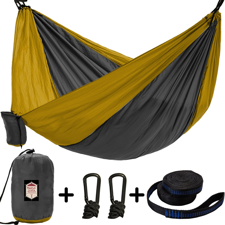 reehutキャンピングハンモックー軽量ナイロンポータブルハンモックループの2ツリーストラップ18 / 10 ft B076WZ31Z4  Double Camping Hammock, Khaki / Grey