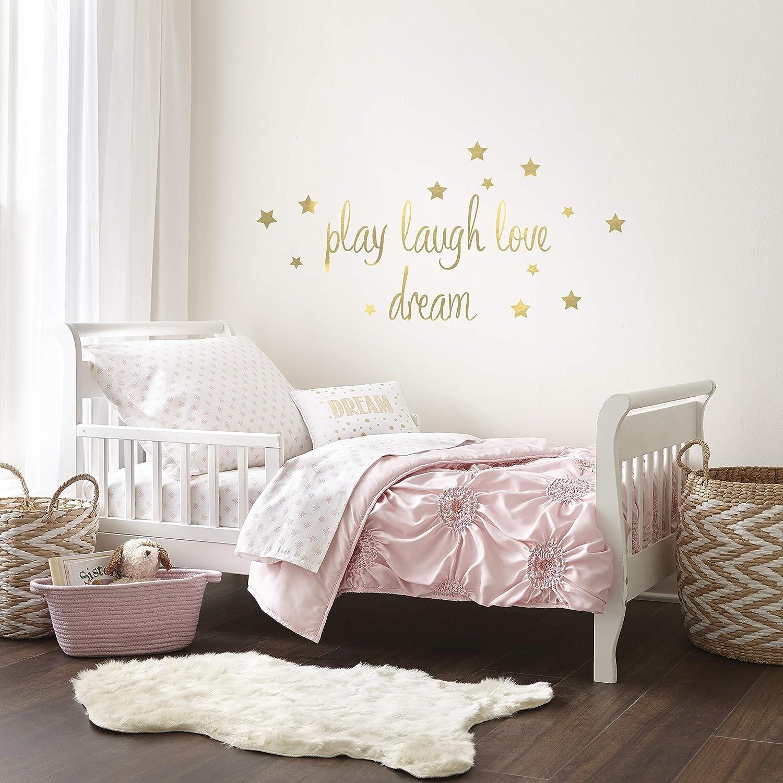 Levtex Home Baby Willow Set, Children's Bed Set, Girl's Bedroom Accessories, 5 Piece Quilt Set, Comforter, Top Sheet, Fitted Sheet, Pillowcase & Decorative Pillow, Soft Pink