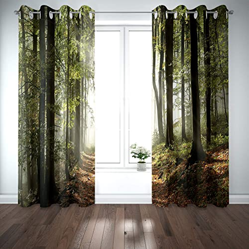 Riyidecor Blackout Forest Tree Curtains Country Nature Rural Village Pathway Mountains Wilderness Scene Autumnal Living Room Bedroom Window Drapes Treatment Fabric 2 Panels 52 x 84 Inch