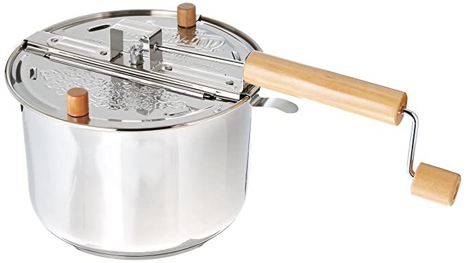 Silver Whirley Pop Stovetop Popcorn Popper - Stainless Steel Popper Makes Up to 6 Quarts of Popcorn in 3 Minutes, Includes Ready To Make Popcorn Pouch - Perfect for Movie Nights and More