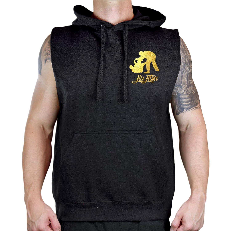 Interstate Apparel Mens Gold Foil Jiu Jitsu Emblem Sleeveless Vest Hoodie