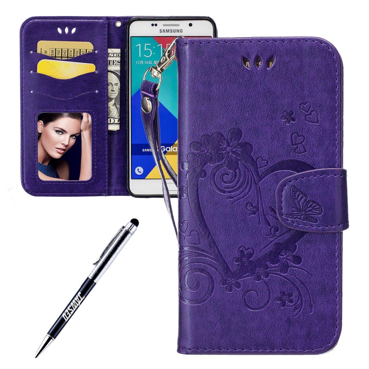 JAWSEU Coque Etui Samsung Galaxy A5 2016 Portefeuille PU Étui Folio en Cuir à Rabat Magnétique Luxe Retro Coeur d'amour Ultra Mince Stand Leather PU Case Flip Wallet Case JAWSEU0041016