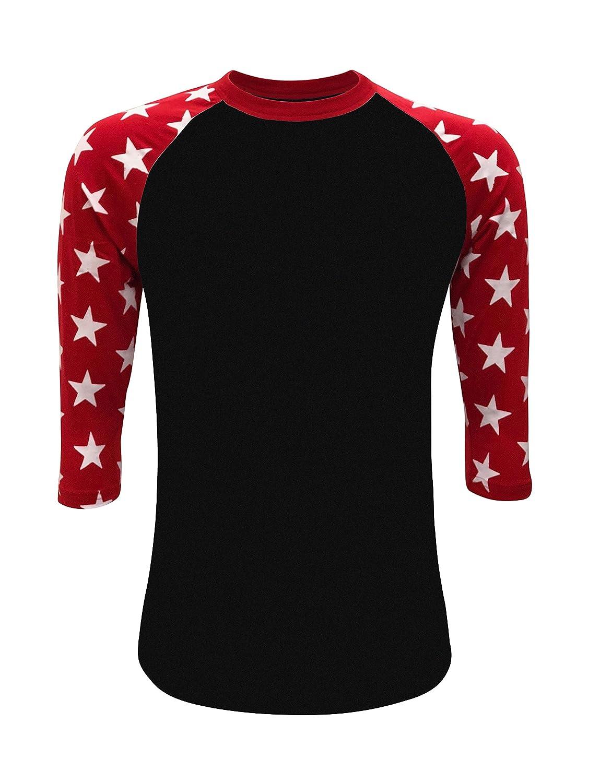 18e698a8f513 Amazon.com  Star Sleeves Raglan 3 4 T-Shirt Baseball Style Tee Patriot Team  (Adult   Youth)  Clothing