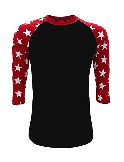 bf27087f7135 Amazon.com  Star Sleeves Raglan 3 4 T-Shirt Baseball Style Tee ...