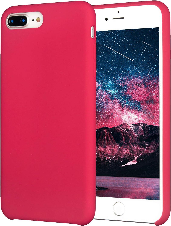 Krazi Original Soft Case iPhone 8 Plus Case/iPhone 7 Plus Case, Liquid Silicone Gel Rubber Soft Touch Case for iPhone 8 Plus 2017/ iPhone 7 Plus 2016, Rose red