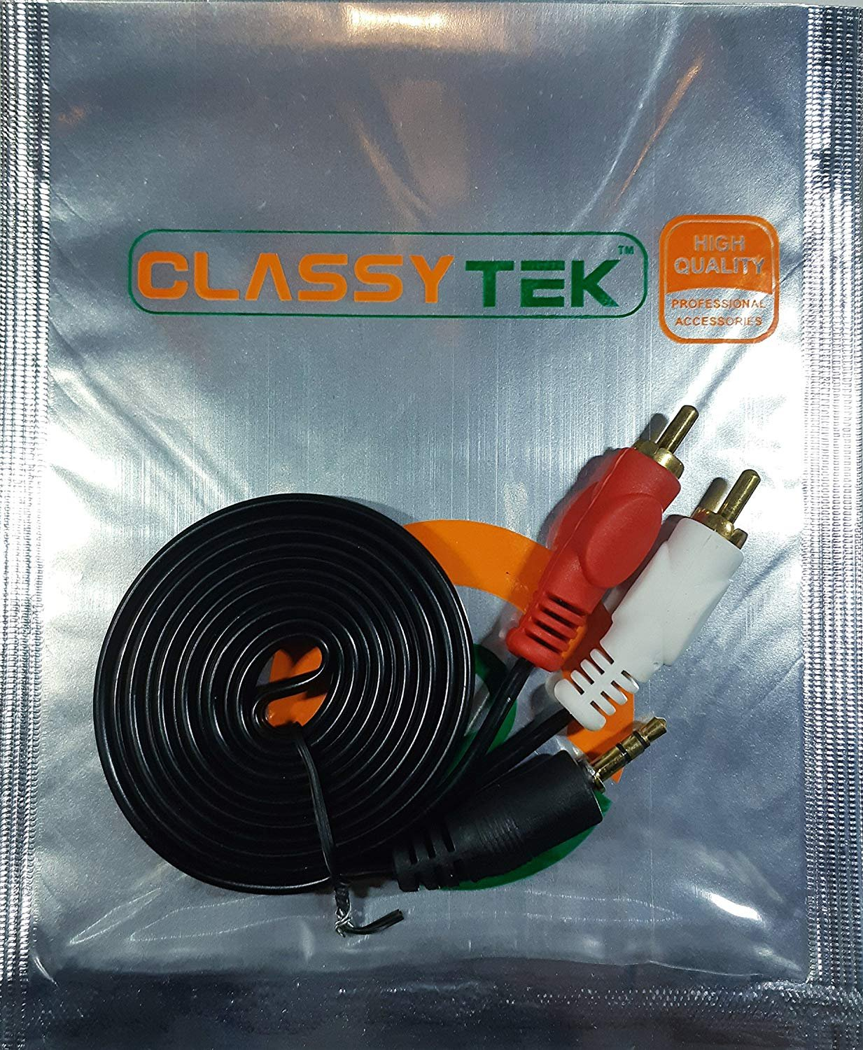 Buy ClassyTek 3.5 mm Stereo Audio Male to 2 RCA Male Cable 1.5 Meter ...