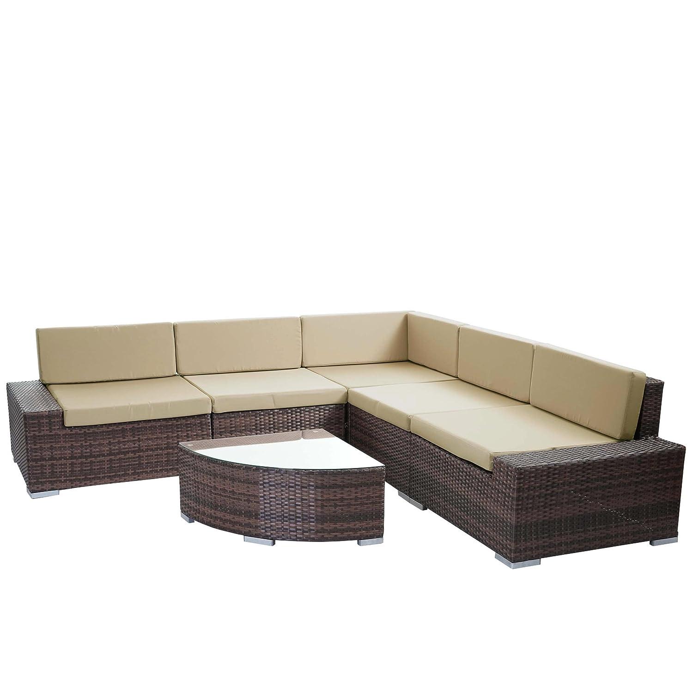 Mendler Poly-Rattan-Garnitur Sora, Gartengarnitur Sitzgruppe Lounge-Set, Alu ~ braun-meliert, flaches Rattan