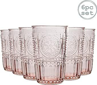 Bormioli Rocco Romantic - Juego de Vasos Altos para cócteles - Diseño Italiano Tradicional - Rosa - 340 ml - Pack de 6: Amazon.es: Hogar