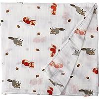 Lulujo Forest Friends Swaddling Blanket, White