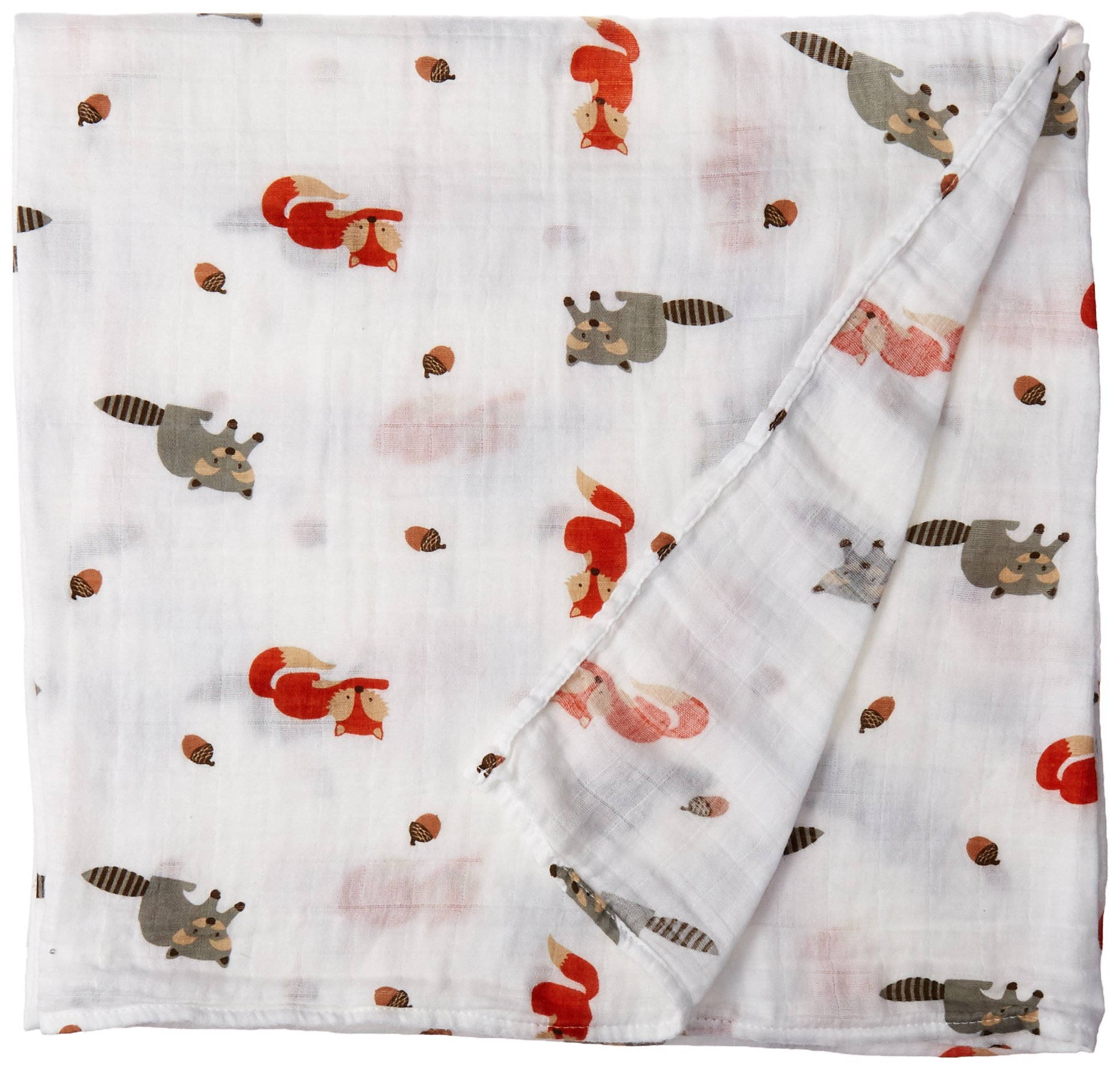 Lulujo Forest Friends Swaddling Blanket, White product image