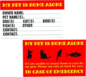 RXBC2011 Pet Emergency Cards, My Pet is Home Alone Wallet Card Pack of 20