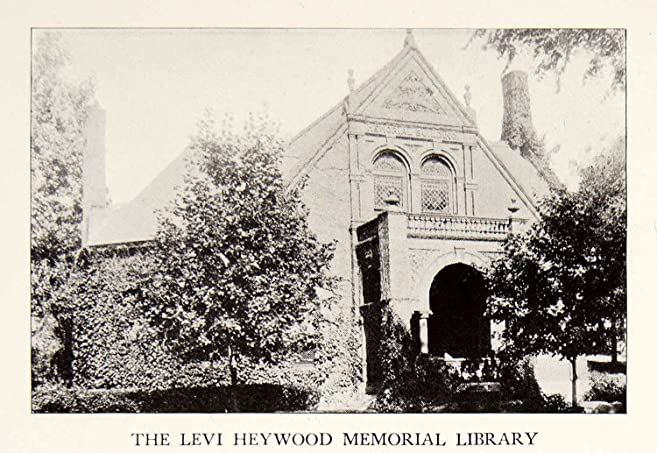 1926 Print Levi Heywood Memorial Library Gardner Massachusetts Furniture  Wicker   Original Halftone Print