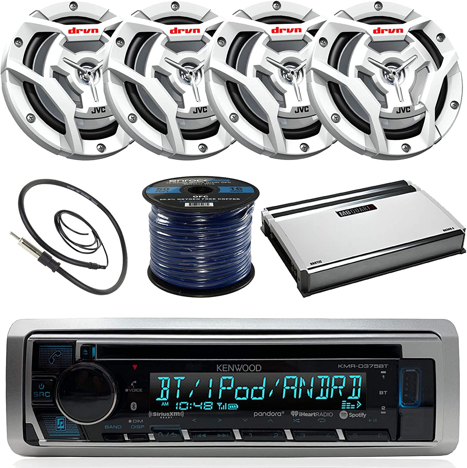 360-Watt Amplifier Kenwood KMR-D365BT Marine Boat Radio Stereo CD Player Receiver Bundle Combo with 4X JVC CS-DR6201MW 6.5 2-Way Coaxial Speakers 50 Foot 16g Speaker Wire Enrock Radio Antenna
