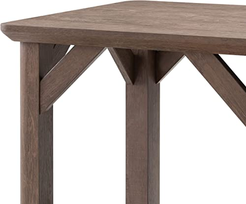 Benjara Wooden End Table with Open Bottom Shelf and Braces Support, Brown