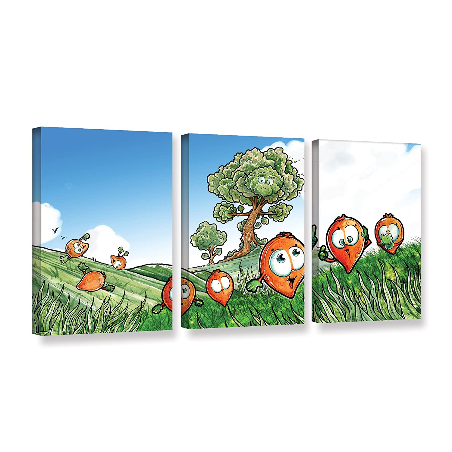 ArtWall 3 Piece Luis Peress Seeds Gallery Wrapped Canvas Set 36 x 72