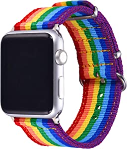 Bandmax Compatible For Apple Watch Rainbow Band 42MM/44MM Nylon Denim Fabric LGBT Pride Parade Sport Strap Replacement Wristband Accessory update apapter clasp Compatible For Iwatch Series SE 6/5/4/3/2/1