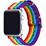 Rainbow Wristband for Apple Watch 42MM Bandmax High Quality Watch Strap Comfortable Denim Fabric Replacement Band for Apple Watch Series 3/2/1