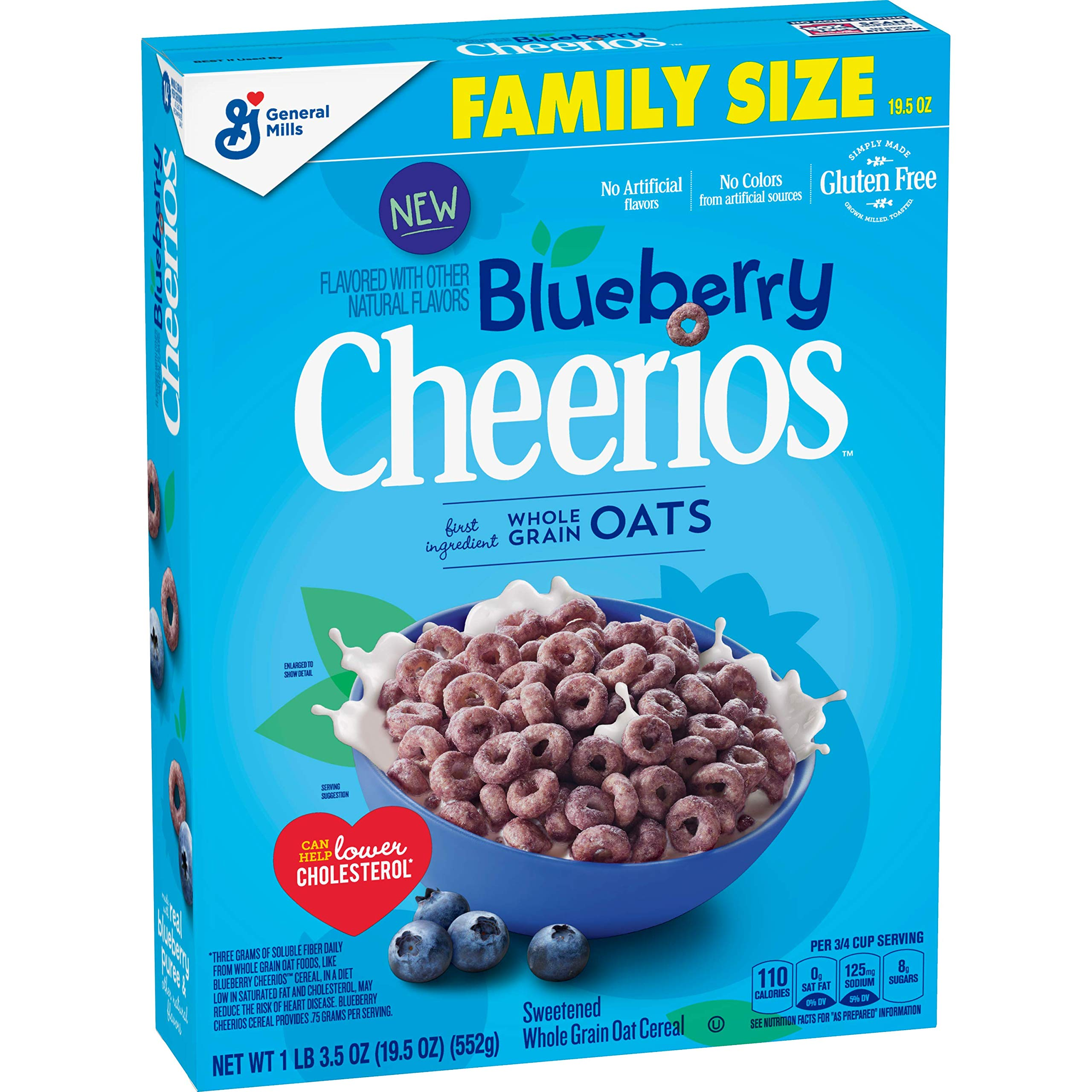 Blueberry Cheerios Cereal, Gluten Free Breakfast Cereal, 19.5 Oz (Pack Of 12) by Cheerios