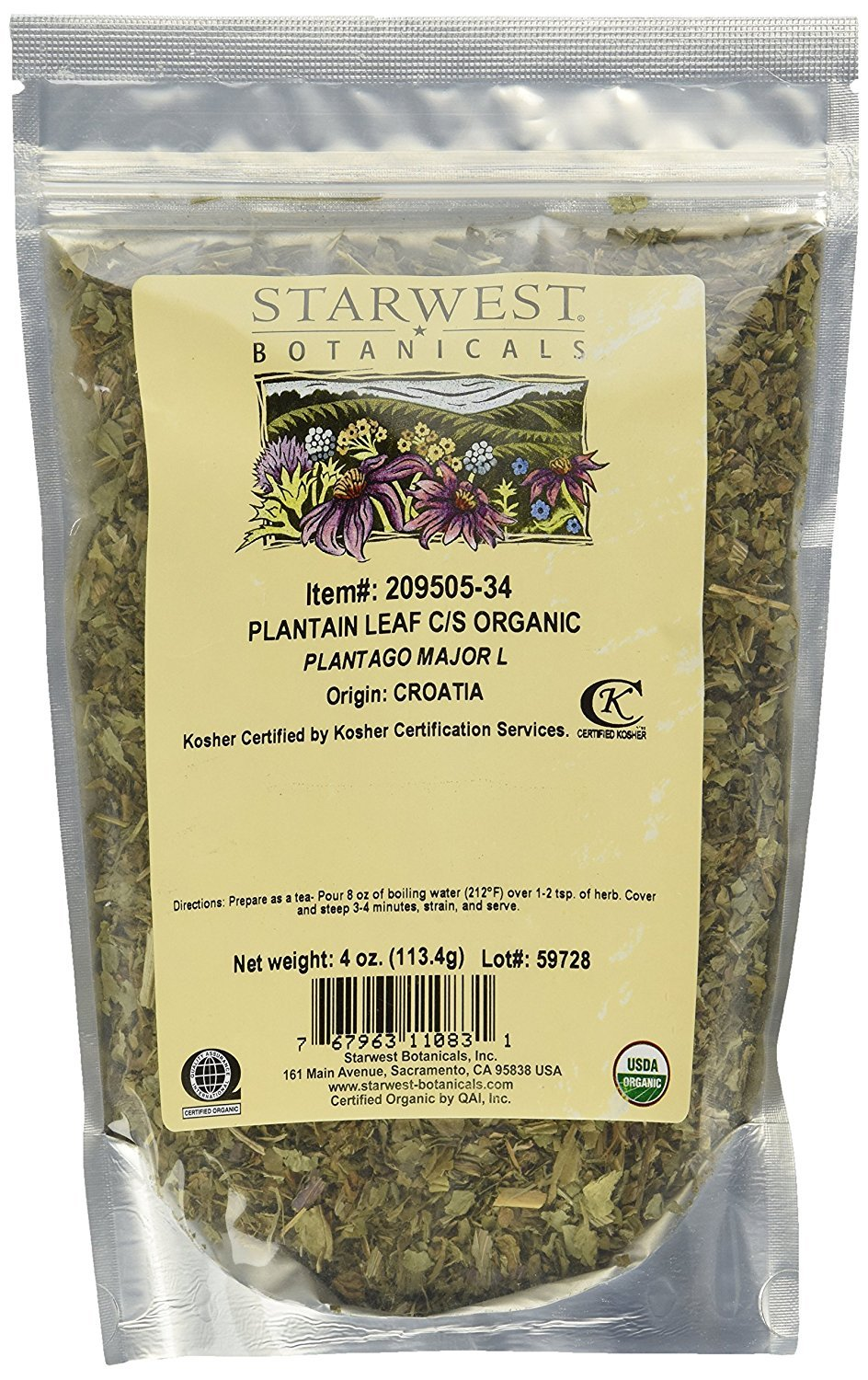 Starwest Botanicals Organic Plantain Leaf Cut, 4 Ounces