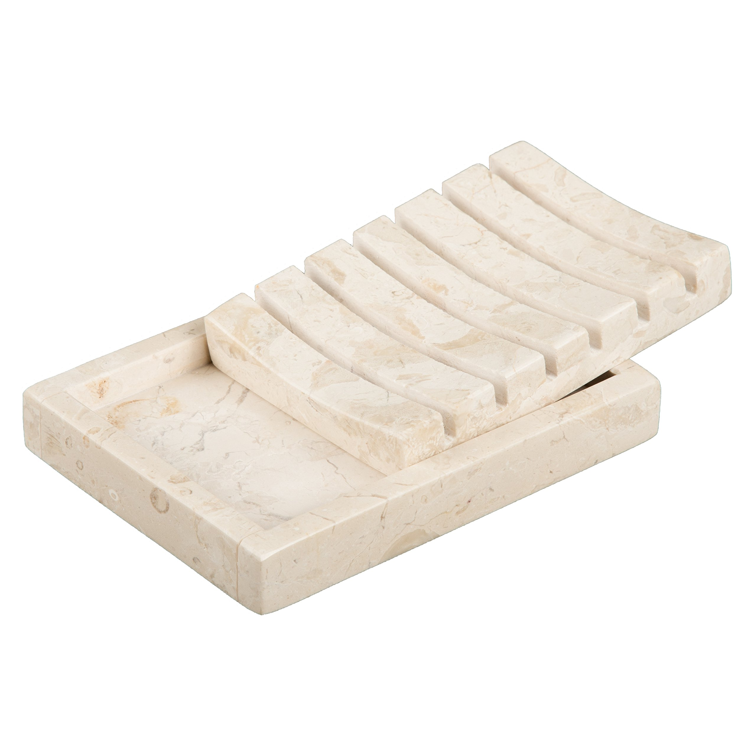 Creative Home Natural Champagne Marble Stone SPA Collection 2 Piece Bar Soap Dish, Soap Tray by Creative Home (Image #4)