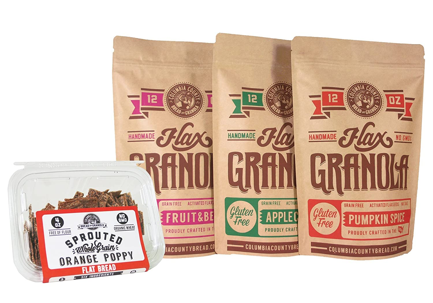 Flax Granola - Variety Pack: Fruit & Berry, Pumpkin Spice, and Apple Cinnamon - with 4 oz Orange Poppy seed Crisps - 12 oz, 3 pack