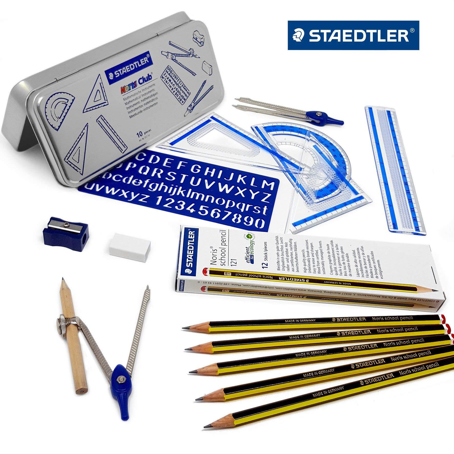 Staedtler Back to School Set - 10 Piece Maths Set in Metal Gift Tin + 12 Noris Pencils - 2B by Staedtler