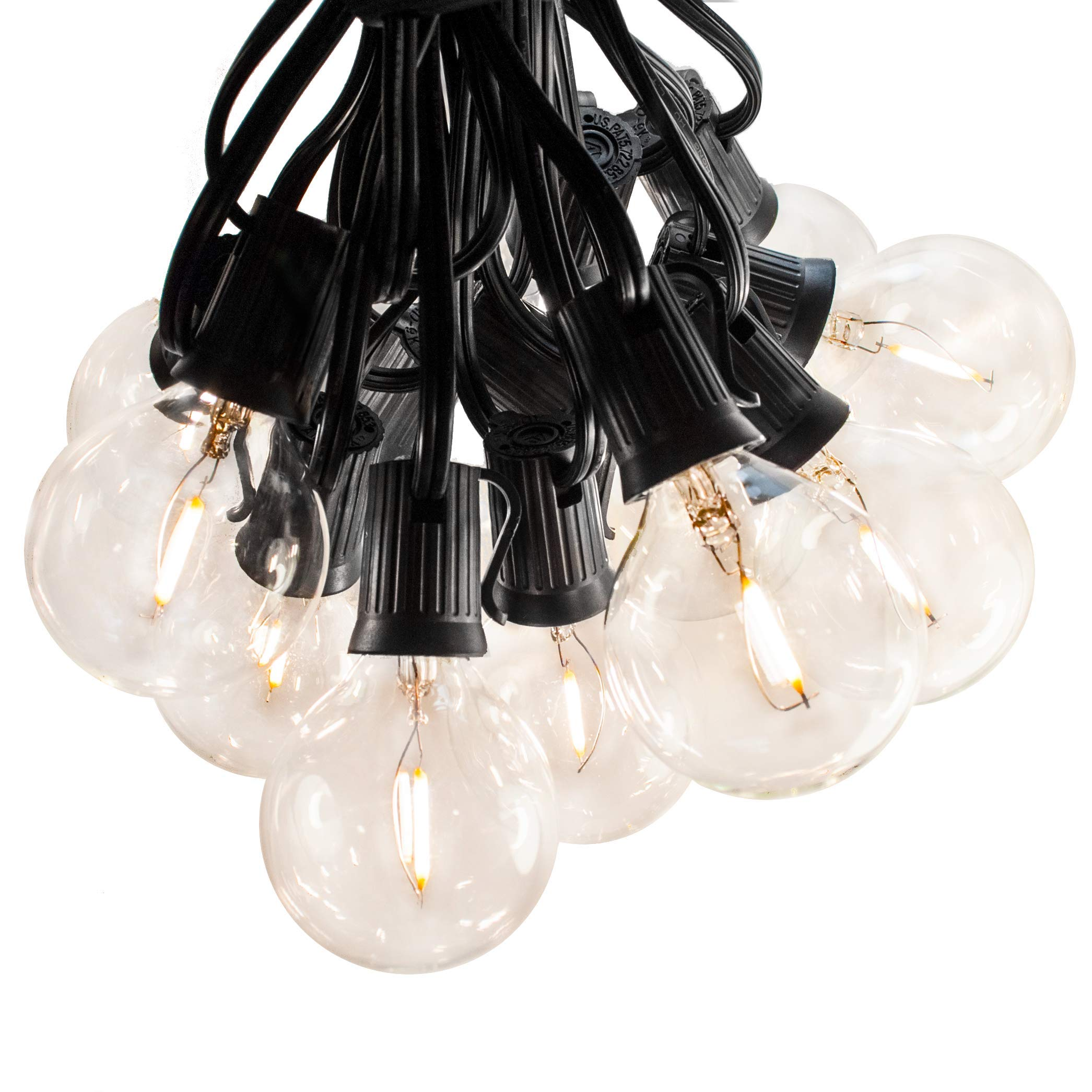Hometown Evolution, Inc. Outdoor Globe String Lights (100 Foot, LED Filament G50 Clear - Black Wire - 2 Inch .6 Watt Bulbs)