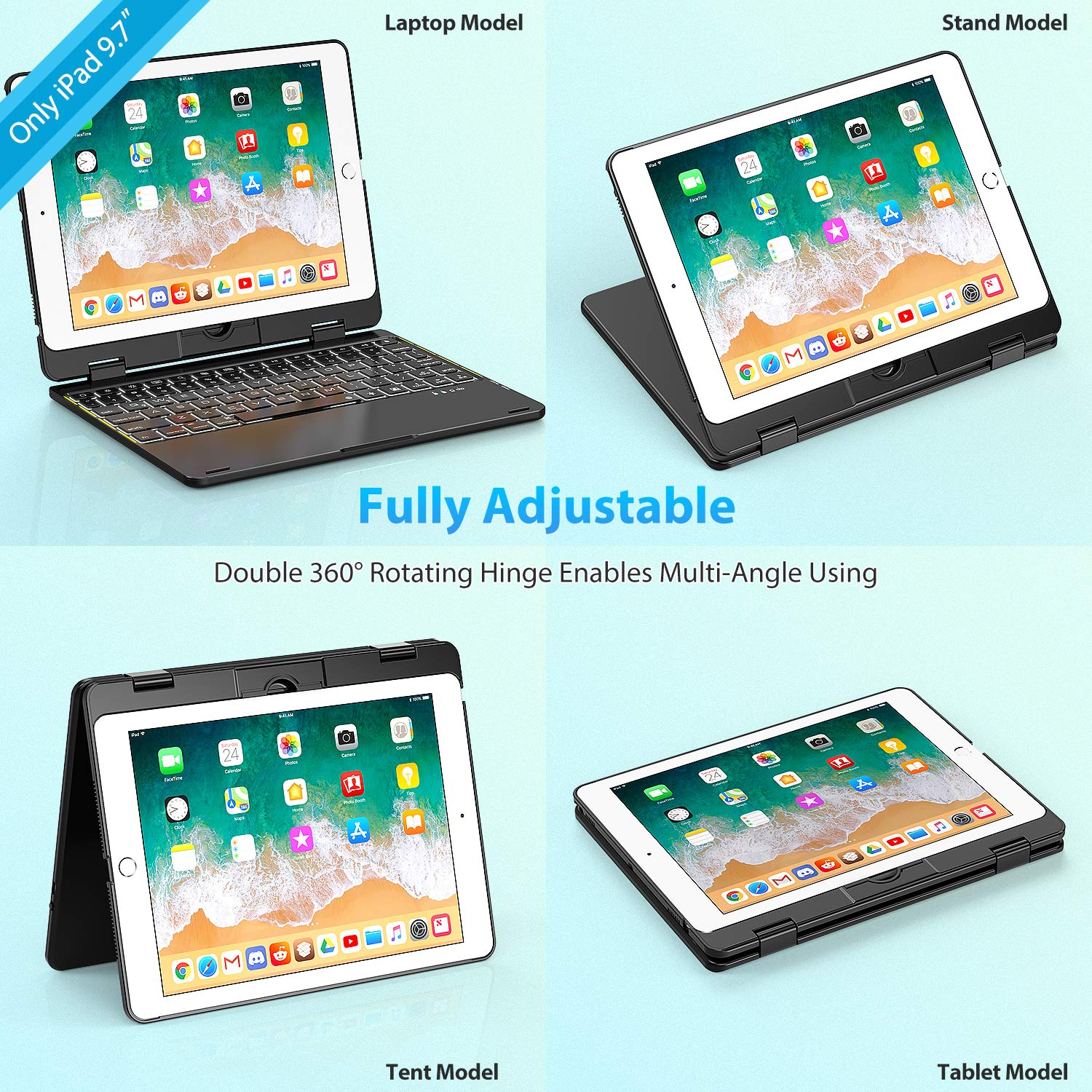 //2017 //Pro 9.7//Air 2 /& 1 Keyboard Case Compatible with iPad 2018 Double-Rotating Hinge /& Aluminum Keyboard//Case Colorful Backlit Keys /& Long Working Time Silver 6th Gen 5th Gen